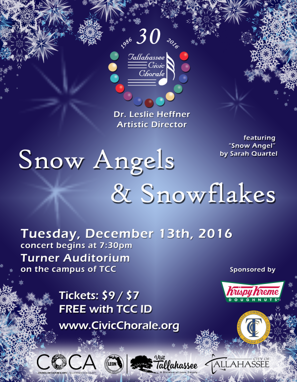 2016 Fall 'Snow Angels & Snowflakes' Concert Poster (by Todd Hinkle)